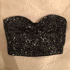 Black sequence bandeau crop top